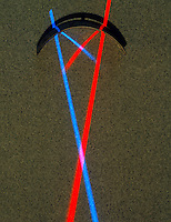REFLECTION OF RED &amp; BLUE LIGHT OFF CONCAVE MIRROR<br /> Reflects diverging light beams &amp; brings them to a focal point
