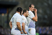 Devin Toner of Leinster Rugby has a quiet word with his team-mates. European Rugby Champions Cup match, between Bath Rugby and Leinster Rugby on November 21, 2015 at the Recreation Ground in Bath, England. Photo by: Patrick Khachfe / Onside Images