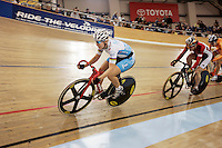 21 January 2007:  Sarah Hammer in the lead at the UCI Track Cycling World Cup Classics @ the Home Depot Center, Carson CA. Team OUCH OPC pro cycling gear.