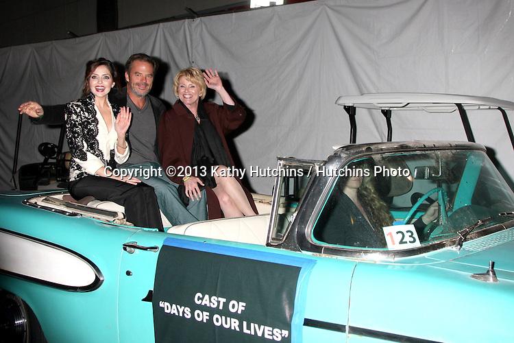 LOS ANGELES - DEC 1:  Jen Lilley, Wally Kurth, Judi Evans at the 2013 Hollywood Christmas Parade at Hollywood & Highland on December 1, 2013 in Los Angeles, CA