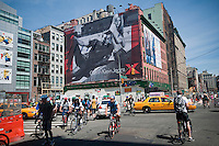 A Calvin Klein billboard in the Soho neighborhood of New York on Saturday, August 14, 2010.  Klein's advertisements use sex and provocative images to test society's cultural and moral boundries. (© Richard B. Levine)