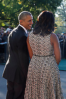 US President Barack Obama (L) and First Lady Michelle Obama (2R) chat prior to greeting Italian Prime Minister Matteo Renzi and Italian First Lady Agnese Landini during an official arrival ceremony on the South Lawn of the White House in Washington DC, USA, 18 October 2016. Later today President Obama and First Lady Michelle Obama will host their final state dinner featuring celebrity chef Mario Batali and singer Gwen Stefani performing after dinner. <br /> Credit: Shawn Thew / Pool via CNP /MediaPunch