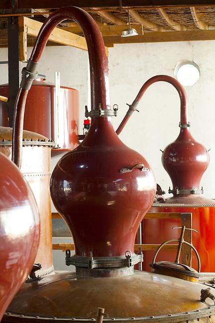 Peru, Bodega Ocucaje, Vina Ocucaje, Winery And Vineyards, Copper Pot Stills Used For Making Pisco, Ocucaje Desert