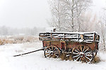 The Sane Wagon is blanketed under snow in Tom's backyard in Moose, Wyoming.