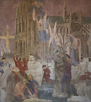 Fresco entitled La Periode Mystique, 1 of a series of 4 paintings depicting the 4 ages of French art, showing the building of the cathedral of Notre Dame in Paris, painted in Art Deco style in 1929-30 by Robert La Montagne Saint-Hubert, 1887-1950, and 2 assistants, Ethel Wallace and James Newell, 1900-1985, 1 of 6 frescoes which were discovered during works in 1994 and restored in 2011, in the Grand Salon or Great Hall of the Fondation des Etats Unis or American Foundation, designed by Pierre Leprince-Ringuet, 1874-1954, and inaugurated in 1930, in the Cite Internationale Universitaire de Paris, in the 14th arrondissement of Paris, France. The Grand Salon is listed as a historic monument. The CIUP or Cite U was founded in 1925 after the First World War by Andre Honnorat and Emile Deutsch de la Meurthe to create a place of cooperation and peace amongst students and researchers from around the world. It consists of 5,800 rooms in 40 residences, accepting another 12,000 student residents each year. Picture by Manuel Cohen. Further clearances may be requested.