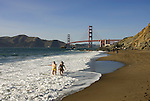 San Francisco: Baker Beach with Golden Gate Bridge in background.  Photo # 2-casanf83459.  Photo copyright Lee Foster