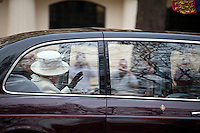 The Queen - 2011<br /> <br /> London, 22/11/2011. State Visit in the United Kingdom for the President of the Republic of Turkey   Abdullah G&uuml;l and his wife Hayr&uuml;nnisa &Ouml;zyurt, as guests of Her Majesty the Queen. A limousine carries Her Majesty the Queen and Prince Phillip down the mall to meet their Turkish guests at Horse Parade. Later, the guests are escorted in Royal carriages up the mall to Buckingham Palace.