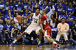 30 October 2015: Duke's Brandon Ingram (14) and Florida Southern's Dylan Travis (right). The Duke University Blue Devils hosted the Florida Southern College Moccasins at Cameron Indoor Stadium in Durham, North Carolina in a 2015-16 NCAA Men's Basketball Exhibition game. Duke won the game 112-68.