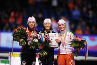 SCHAATSEN: HEERENVEEN: Thialf, Essent ISU World Single Distances Championships, 25-03-2012, Podium 500m Ladies, Jing Yu (CHN), Sang-Hwa Lee (KOR), Track Record points | Baanrecord punten 75,690, Thijsje Oenema (NED), ©foto Martin de Jong