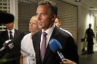 (Oslo July 22, 2011) Prime Minister Jens Stoltenberg flanked by dr. P&aring;l Aksel N&aelig;ss speaks at Ullev&aring;l hopspital. A  large vehicle bomb was detonated near the offices of Norwegian Prime Minister Jens Stoltenberg on 22 July 2011. Although Stoltenberg was reportedly unharmed the blast resulted in several injuries and deaths. <br />