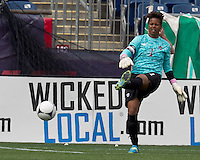 Canadian goalkeeper Karina LeBlanc (1). In an international friendly, Canada defeated Brasil, 2-1, at Gillette Stadium on March 24, 2012.