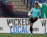 Canadian goalkeeper Karina LeBlanc (1). In an international friendly, Canada defeated Brasil, 2-1, at Gillette Stadium on March 24, 2012.