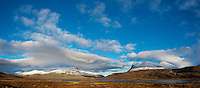 Autumn mountain landcape from near lake Radujavri, Kungsleden trail, Lappland, Sweden