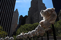 The New York City exhibition of the art sculpture of Ai Weiwei's Circle of Animal Heads in front of the Pulitzer Fountain in Manhattan, New York on May 01, 2011..Inspired by the fabled fountain-clock of the Yuanming Yuan, an 18th-century imperial retreat just outside Beijing. Designed in the 18th century by two European Jesuits at the behest of the Manchu Emperor Qianlong, the fountain-clock of the Yuanming Yuan featured the animals of the Chinese zodiac, each spouting water at two-hour intervals. Today, seven heads - the rat, ox, tiger, rabbit, horse, monkey and boar - have been located; the whereabouts of the other five are unknown..CREDIT: Melanie Burford/Prime for The Wall Street Journal.NYCOVERAGE_Burford