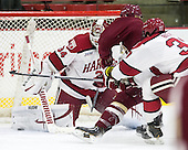 Steve Michalek (Harvard - 34), Patrick Brown (BC - 23), Desmond Bergin (Harvard - 37) - The visiting Boston College Eagles defeated the Harvard University Crimson 5-1 on Wednesday, November 20, 2013, at Bright-Landry Hockey Center in Cambridge, Massachusetts.