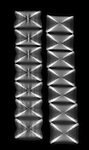 X-ray image of shark vertebrae (white on black) by Jim Wehtje, specialist in x-ray art and design images.