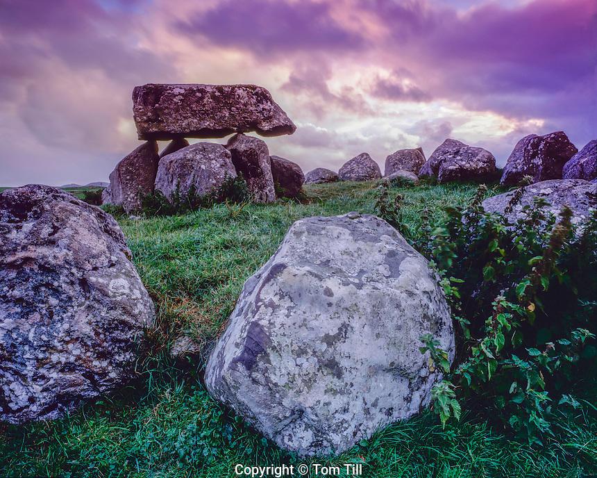 Dolmen and stone circle, Carrowmore Megalithis Cemetery, County Sligo, Republic of Ireland, Five thousand year old structures, Knocknarea Mountain, September