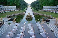 Saint Petersburg, Russia, June 2002..The Kirov Ballet performs at 11pm in Peterhof Palace gardens on the Gulf of Finland at the Stars of the White Nights midsummer ball..The mid-summer White Nights period when the sun sets only briefly is a time of festivals, entertainment and walks along the Neva River to watch the city bridges raise for shipping..