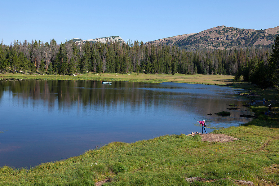 Woman fishing in the Uinta Wasatch Cache National Forest, UTAH,