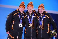 OLYMPICS: SOCHI: Medal Plaza, 19-02-2014, Men 10.000m, Sven Kramer (NED), Jorrit Bergsma (NED), Bob de Jong (NED), ©photo Martin de Jong