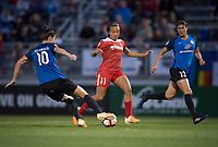 Boyds, MD - Saturday May 20, 2017: Mallory Pugh and Yael Averbuch during a regular season National Women's Soccer League (NWSL) match between the Washington Spirit and FC Kansas City at Maureen Hendricks Field, Maryland SoccerPlex.