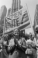 26 Aug, 1970. National Organization for Women President Betty Friedan and feminists march in New York City on August 26, 1970 on the 50th anniversary of the passing of the Nineteenth Amendment which granted American women full suffrage. The National Organization for Women (NOW) called upon women nationwide to strike for equality on that day. Image by © JP Laffont