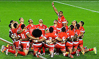 Picture by Alex Whitehead/SWpix.com - 05/11/2013 - Rugby League - Rugby League World Cup - Tonga v Cook Islands - Leigh Sports Village, Leigh , England - Tonga perform their Haka.