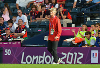 Glasgow, Scotland - July 25, 2012: Pia Sundhage, head coach of the US women's national soccer team during USA's win against France, 4-2.