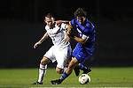 17 October 2014: Duke's Zach Mathers (right) and Notre Dame's Connor Klekota (3). The Duke University Blue Devils hosted the Notre Dame University Fighting Irish at Koskinen Stadium in Durham, North Carolina in a 2014 NCAA Division I Men's Soccer match. Notre Dame won the game 4-1.