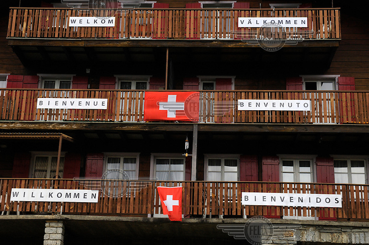 Chalet hotel welcoming teams and supporters to the other official Euro 2008 football tournament: the European Championship of Mountain Villages. The tournament was held at the summer training ground of hosts FC Gspon, standing at 2008 metres above sea-level,  and surrounded by 4000 metre alpine peaks. It is the highest football pitch in Europe, and reachable only by cable car, or a long walk. Amateur league teams from eight countries took part.