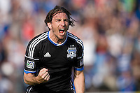 Alan Gordon of Earthquakes celebrates after scoring a goal in second half of the game against Whitecaps at Buck Shaw Stadium in Santa Clara, California on April 7th, 2012.  San Jose Earthquakes defeated Vancouver Whitecaps, 3-1.