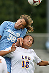 18 September 2009: North Carolina's Tobin Heath (98) and LSU's Taryne Boudreau (CAN) (16). The University of North Carolina Tar Heels defeated the Louisiana State University Tigers 1-0 at Koskinen Stadium in Durham, North Carolina in an NCAA Division I Women's college soccer game.