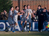 Andy Riemer (20) of Georgetown celebrates his goal with teammates  during the game at North Kehoe Field in Washington, DC.  Georgetown defeated San Diego, 3-1.