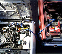 JUMP STARTING CAR: BATTERY CHARGING<br /> Creating A Simple Parallel Circuit<br /> A parallel circuit only works if both batteries have the same electromotive force. As all car batteries are 12v, it is possible to create such a circuit to charge the dead battery.