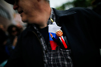 NEW YORK, NY - May 04: An activist holds a toy of U.S. president Donald Trump as he takes part in a protest near the USS Intrepid where U.S. president is hosting the visit of Australian Prime Minister Malcolm Turnbull late today after a delay on his schedule on May 4, 2017 in New York City. US President Donald Trump is returning to NYC after taking office in Washington as president,  Photo by VIEWpress/Eduardo MunozAlvarez
