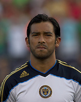 Philadelphia Union forward Carlos Ruiz (20). In a Major League Soccer (MLS) match, the Philadelphia Union defeated the New England Revolution, 3-0, at Gillette Stadium on July 17, 2011.