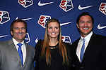 15 January 2016: Rachel Daly, with head coach Randy Waldrum (left) and technical director Brian Ching (right), was taken with the #6 overall pick by the Houston Dash. The 2016 NWSL College Draft was held at The Baltimore Convention Center in Baltimore, Maryland as part of the annual NSCAA Convention.