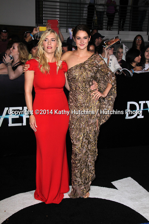 """LOS ANGELES - MAR 18:  Kate Winslet, Shailene Woodley at the """"Divergent"""" Los Angeles Premiere at Bruin Theater on March 18, 2014 in Westwood, CA"""