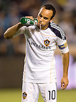 LA Galaxy forward Landon Donovan (10) takes a sip of water. The LA Galaxy and the San Jose Earthquakes played to a 2-2 draw at Home Depot Center stadium in Carson, California on Thursday July 22, 2010.