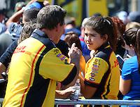 Jul 24, 2016; Morrison, CO, USA; NHRA funny car driver Del Worsham with daughter during the Mile High Nationals at Bandimere Speedway. Mandatory Credit: Mark J. Rebilas-USA TODAY Sports