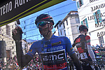 Race leader Damiano Cunego (ITA) BMC Racing Team at sign on before the start of stage 2 of the 2017 Tirreno Adriatico running 229km from Camaiore to Pomarance, Italy. 9th March 2017.<br /> Picture: La Presse/Gian Mattia D'Alberto | Cyclefile<br /> <br /> <br /> All photos usage must carry mandatory copyright credit (&copy; Cyclefile | La Presse)