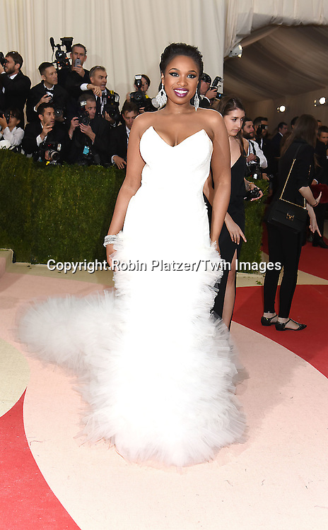 Jennifer Hudson in H and M white dress attends the Metropolitan Museum of Art Costume Institute Benefit Gala on May 2, 2016 in New York, New York, USA. The show is Manus x Machina: Fashion in an Age of Technology. <br /> <br /> photo by Robin Platzer/Twin Images<br />  <br /> phone number 212-935-0770