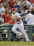 20 September 2012: Washington Nationals third baseman Ryan Zimmerman takes to the field to start a game against the Los Angeles Dodgers at Nationals Park in Washington, DC. The Nationals defeated the Dodgers 4-1, clinching a playoff birth: the first time for a Washington franchise since 1933. Mandatory Credit: Ed Wolfstein Photo