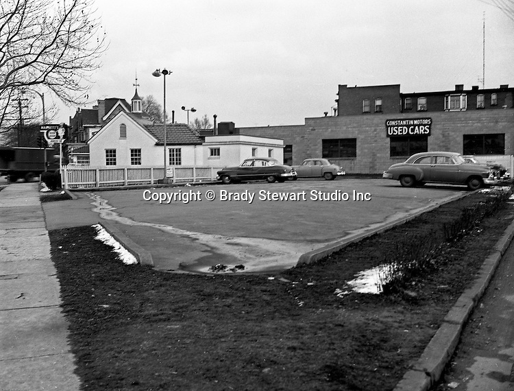 Pittsburgh PA:  View Marbett's Restaurant and Contantine Motors in the East Liberty section of Pittsburgh - 1952.