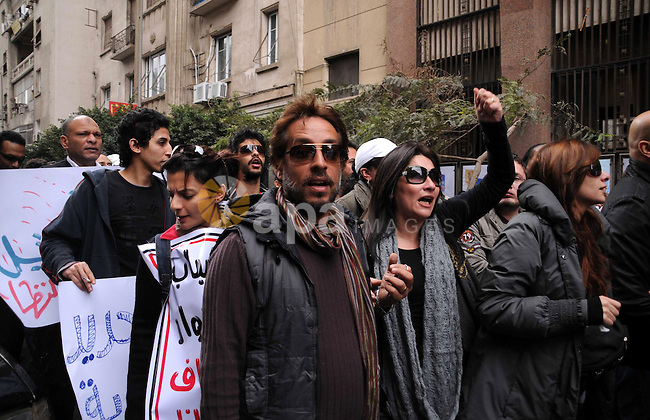 Artists take part in the anti-government demonstration in Tahrir Square in downtown Cairo, Egypt on Feb. 10,2010. Tahrir Square has witnessed an explosion of political expression and free speech since the anti-government protests began.. Photo by Ahmed Asad