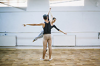 Fisnik Smani and Behie Murtezi during the rehearsal for the upcoming regular performance at the training room of Kosovo Ballet, Kosovo National Theater, Pristina. Both of them work full time for the ballet.