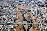 Futako Tamagawa & Tama river from the air.