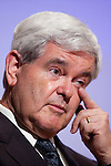 Former Speaker of the House Newt Gingrich wipes away a tear as he introduces the movie A City Upon A Hill, which he hosts with his wife Callista Gingrich, at a screening on Friday, April 29, 2011 in Washington, DC.