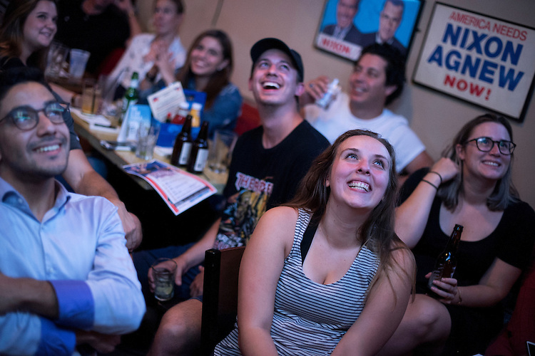 UNITED STATES - OCTOBER 19: Dana Radojevic, front right, and other guests attend a watch party for the last presidential debate between Donald Trump and Hillary Clinton at Capitol Lounge on Pennsylvania Avenue, SE, October 19, 2016. (Photo By Tom Williams/CQ Roll Call)