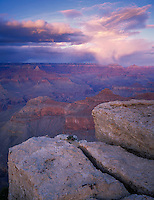 Grand Canyon National Park, AZ   <br /> Evening light on gathering storm clouds - from the South Rim near Yavapai Point